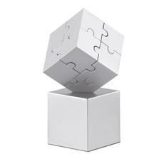 Puzzle magnetico 3D 8 pezzi in metallo colore argento opaco AR1810-16