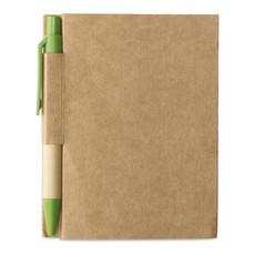 Quaderno in cartone riciclato e penna blu ecologica colore lime MO7626-48