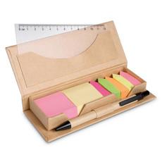 Set penna post it e memo pad in custodia di cartone colore beige MO7756-13