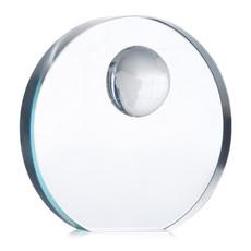 Fermacarte in vetro rotondo con inserto a forma di mondo colore trasparente MO7183-22
