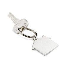 Portachiavi a forma di casa in metallo colore argento opaco KC6589-16