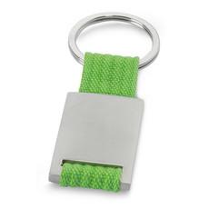 Portachiavi rettangolare in metallo con fascia di tela colore lime IT3020-48