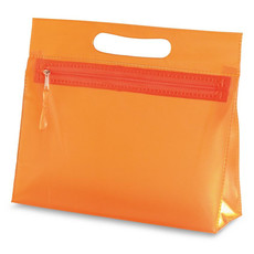 Beauty case in PVC con zip e manico colore arancio IT2558-10