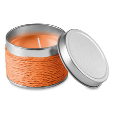 Candela profumata in confezione di latta colore arancio IT2873-10
