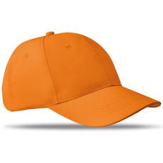 Cappellino da 6 pannelli con chiusura a strappo colore arancio MO8834-10