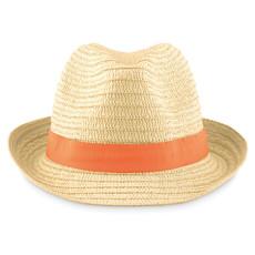Cappello di paglia naturale con banda colorata colore arancio MO9341-10