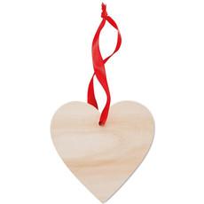 Decorazione a forma di cuore con nastro rosso colore legno MO9376-40