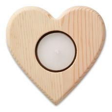 Porta tea light in legno a forma di cuore colore legno MO9377-40