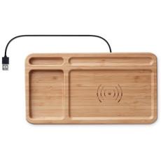 Portaoggetti in bamboo con caricatore wireless colore legno MO9391-40