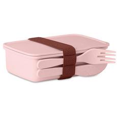Portapranzo in bamboo e PP con banda per posate colore rosa MO9425-11