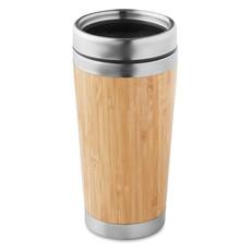 Thermos doppio strato in bamboo con tappo in PP colore legno MO9444-40