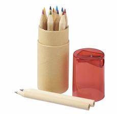 Set matite colorate e temperino in astuccio cilindrico - colore Rosso